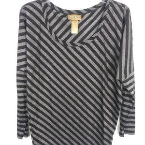 Miss Tina black & silver striped shirt Size M